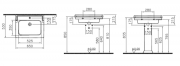 Umyvadlo RICORDI/Valarte (Technický nákres (šíře 65 cm))