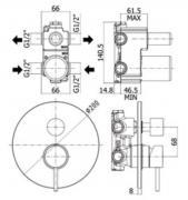 Sprchová baterie Light (Technický nákres)