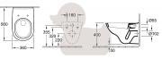 Závěsné WC se sedátkem Softclose O.Novo (technický nákres (WC shlubokým splachováním))