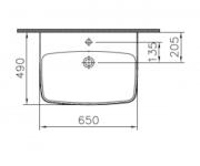 Umyvadlo na desku SHIFT NEW (Technický nákres 2 (ilustrační))