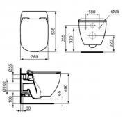 Závěsné WC TESI AQUABLADE (Technický nákres)