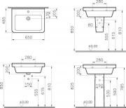 Koupelnová skříňka s umyvadlem Naturel Vario (Technický nákres 2)