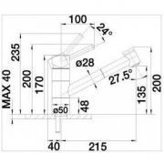 Dřezová baterie Blanco TIVO-S šedá skála (Technický nákres)