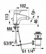 Bidetová baterie Deep (Technický nákres)