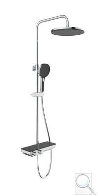 Sprchový systém SAT na stěnu s termostatickou baterií černá/chrom SATSSTPBCHC obr. 1
