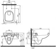 Závěsné WC Kolo se sedátkem Softclose (Technický nákres)