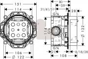 Podomítkové těleso Ibox (Technický nákres)