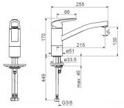 Dřezová baterie HA224 (Technický nákres)