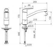 Dřezová baterie stojánková (Technický nákres)