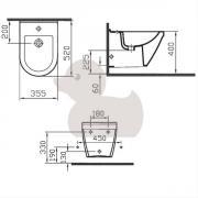 Bidet S50 (technický nákres (vnější přívod))