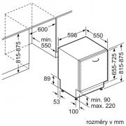 Vestavná myčka nádobí Siemens SN 636X01G (Technický nákres)