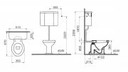 Stojící WC Ricordi (Technický nákres (spodní odpad))
