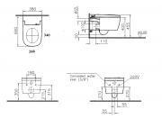 Závěsné WC s bidetem (Technický nákres (2))