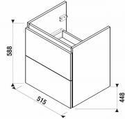 Koupelnová skříňka pod umyvadlo Jika Mio-N 51,4x44,5x59 cm (Nákres)