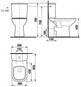 Stojící WC kombi Deep (Technický nákres (zadní odpad))
