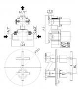 Sprchová baterie podomítková (Technický nákres)