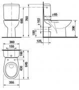 Stojící WC kombi Neo (Technický nákres (zadní odpad))