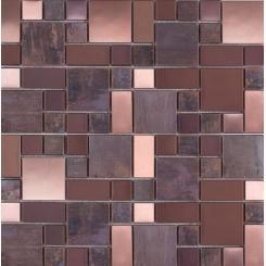 Mozaika metalická hnědá *)   rozměr:  30 x 30 cm   kód: MOS4823CO