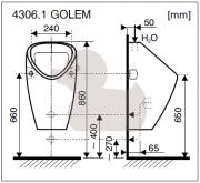 Urinál Golem (technický nákres (vnější přívod))