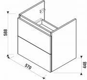 Koupelnová skříňka pod umyvadlo Jika Mio-N 57x44,5x58,8 cm (nákres)