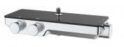 Sprchový systém SAT na stěnu s termostatickou baterií černá/chrom SATSSTPBCHC (Polička ztemperovaného skla)