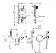 Podomítková nádrž Grohe Rapid (Technický nákres)