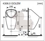 Urinál Golem (technický nákres (vnitřní přívod))