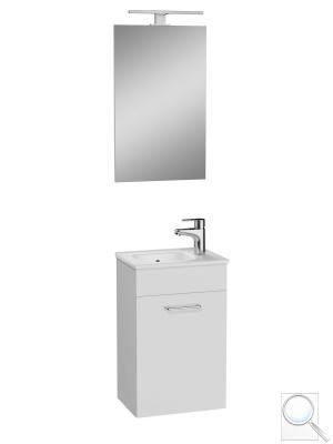 Koupelnová skříňka sumyvadlem zrcadlem a osvětlením Vitra Mia bílá lesk