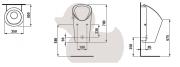 LEMA bezvodý urinál Bílá (Technický nákres)