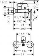 Vanová baterie HG248 (Technický nákres)