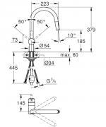 Dřezová baterie Minta (Technický nákres)