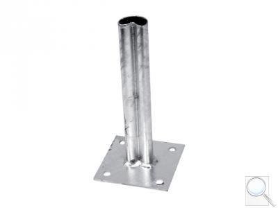 Platle k montáži sloupku na betonový základ pro sloupky PILCLIP®, průměr 48 mm, s prolisem, Zn