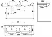 Nábytkové dvojumyvadlo Mio (Technický nákres)
