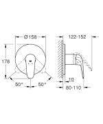 Sprchová baterie Grohe Eurostyle bez podomítkového tělesa chrom 24046003 (Technický nákres)