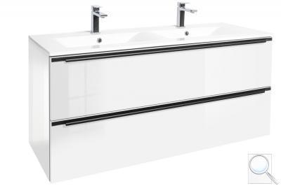 Koupelnová skříňka sdvojumyvadlem Naturel Nobia bílá lesk