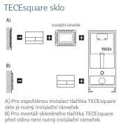 Ovládací tlačítko TECEsquare sklo (Technický nákres)