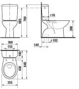 Stojící WC kombi Neo (Technický nákres (spodní odpad))