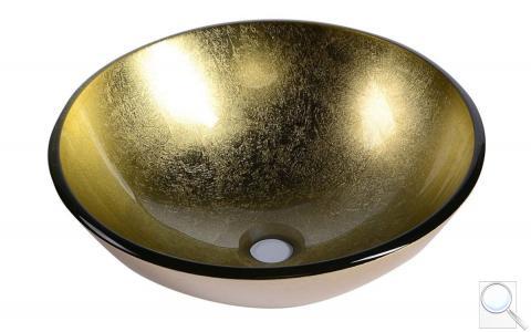 Umyvadlo na desku Sapho Shay 42x42 cm zlatá bez otvoru pro baterii, bez přepadu 2501-22 obr. 1