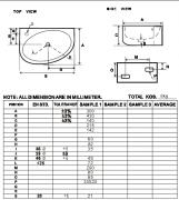Rohové umývátko Bigio (Technický nákres (otvor pro baterii vlevo))