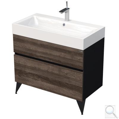 Koupelnová skříňka podumyvadlo Luxe černá břidlice/dřevo lesk