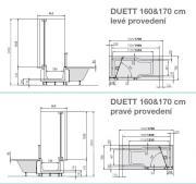DUETT vana + dveře (Technický nákres 2)