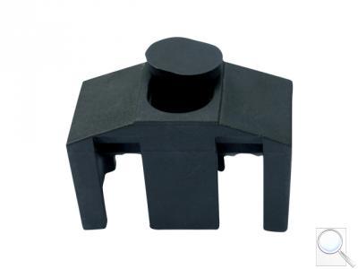 Příchytka z PVC k uchycení panelů ke čtyřhranným sloupkům včetně krytky na hlavu šroubu (CLASSIC) - černá