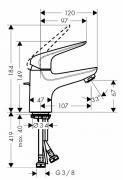 Umyvadlová baterie HG288 (Technický nákres)