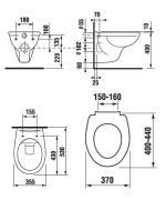 Závěsné WC Dino rimless + sedátko (Technický nákres)