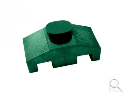 Příchytka z PVC k uchycení panelů ke čtyřhranným sloupkům včetně krytky na hlavu šroubu (SUPER) - zelená