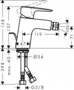 Bidetová baterie HG248 (Technický nákres)