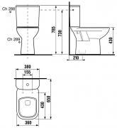 Stojící WC kombi Deep (technický nákres (spodní odpad))