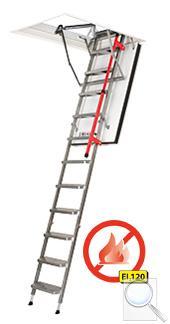 LMF protipožární skládací schody s kovovým žebříkem