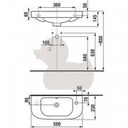 Umývátko Deep (Technický nákres (otvor pro baterii vpravo))