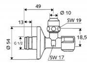 Rohový regulační ventil SCHELL COMFORT (Technický nákres)